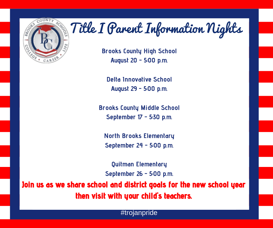 Title I Parent Information Nights