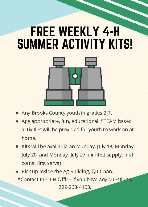 Free 4-H Weekly Summer Activity Kits For Grades 2 through 7!
