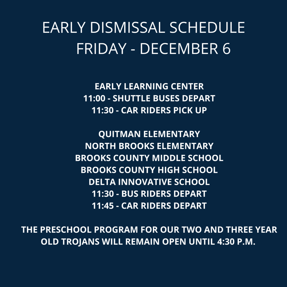 Early Dismissal - Dec 6