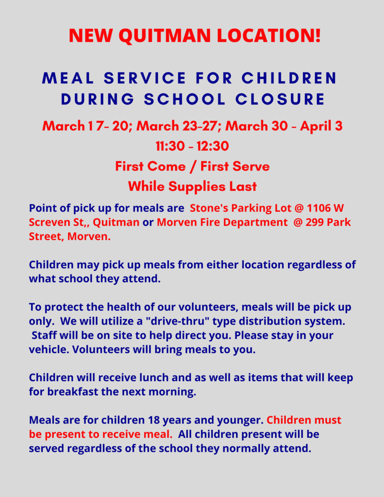 March 23-27 Meal Service Plan