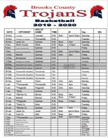 Brooks County High Basketball Schedule