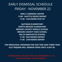Early Dismissal Schedule - November 22