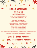 Early Dismissal Schedule - December 20
