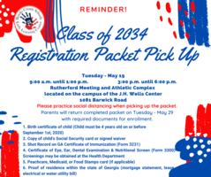 Class of 2034 Packet Pickup Reminder