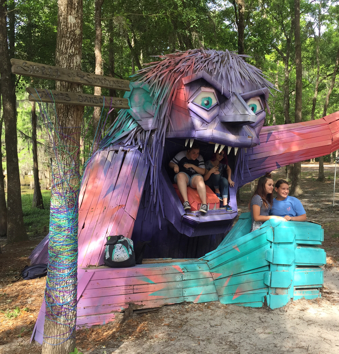 "Thomas Dambo sculpture ""Snorra"" troll at Spirit of the Suwannee Music Park."